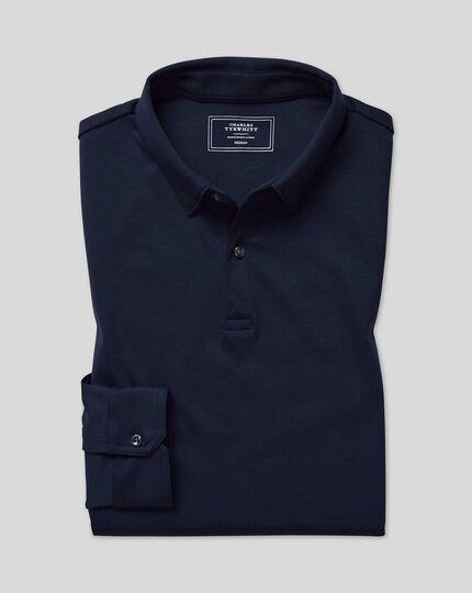 Smart Long Sleeve Jersey Polo - Navy