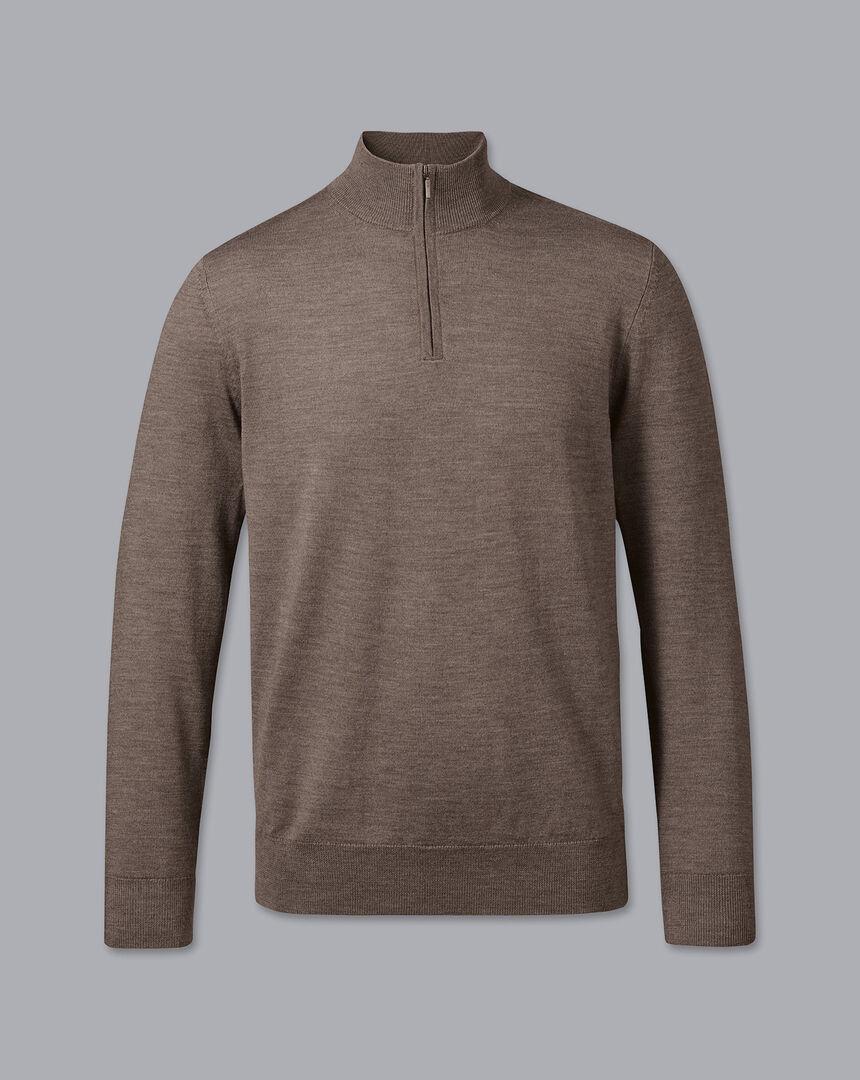 Merino Zip Neck Sweater - Mocha