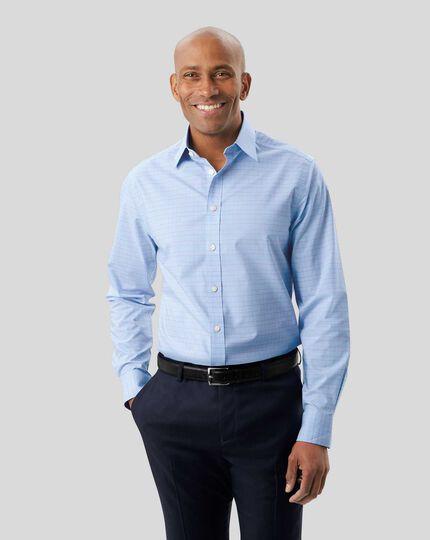 Bügelfreies Hemd mit Prince-of-Wales-Karos - Blau & Rosa