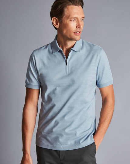 Tyrwhitt Cool Zip-Neck Stripe Polo - Light Blue