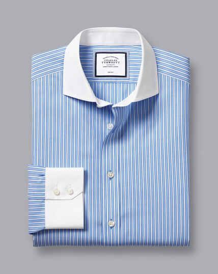 Cutaway Collar Non-Iron Stripe Winchester Shirt - Blue