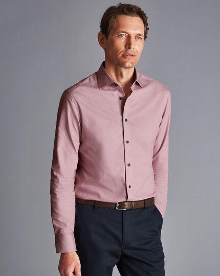 Semi-Cutaway Collar Twill Printed Trim Shirt - Pink