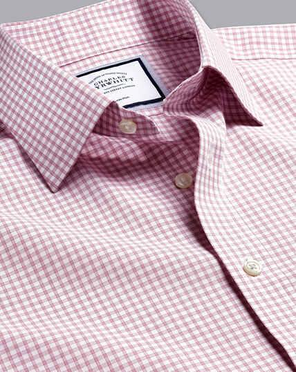 Non-Iron Poplin Check Shirt - Berry