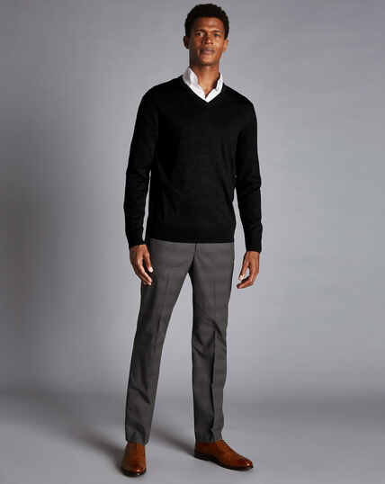 Non-Iron Prince of Wales Check Stretch Trousers - Charcoal
