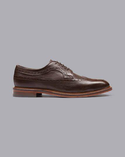 Derby-Schuhe mit Flügelkappen und flexibler Sohle - Schkoladenbraun