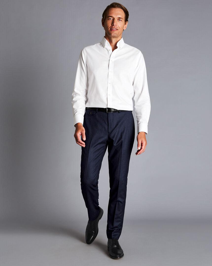 Italian Wool Flannel Trousers - Denim Blue