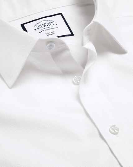 Non-Iron Mini Herringbone Shirt - White