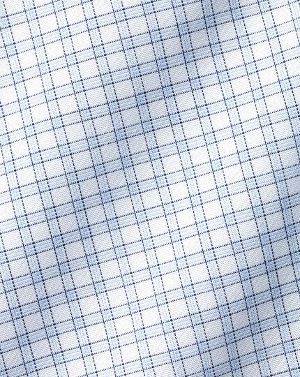 Spread Collar Non-Iron Poplin Fine Check Shirt - Sky Blue
