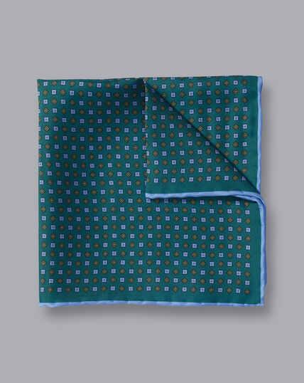 Mini Geometic Print Pocket Square - Green & Sky