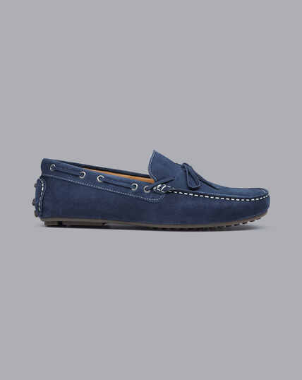 Suede Driving Loafers - Blue