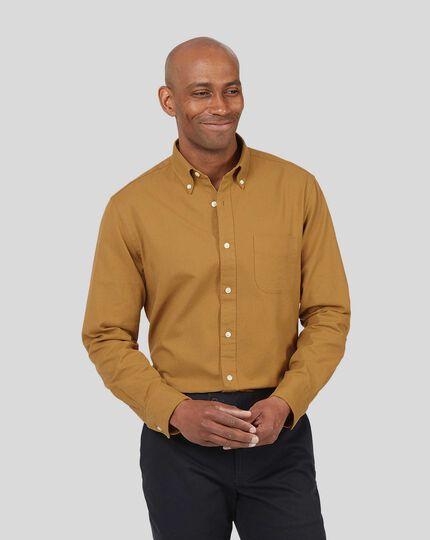 Button-Down Collar Washed Oxford Shirt - Mustard