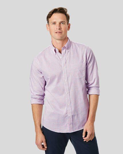 Button-Down Collar Non-Iron Stretch Oxford Check Shirt - Orange & Blue