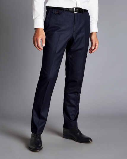 Italienische Flanell-Anzughose aus Wolle - Jeansblau