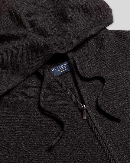 Merino Hooded Zip Through Sweater - Dark Charcoal