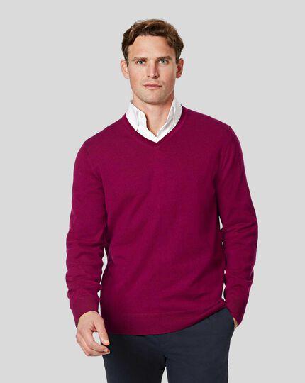 Merino V-neck Sweater - Raspberry