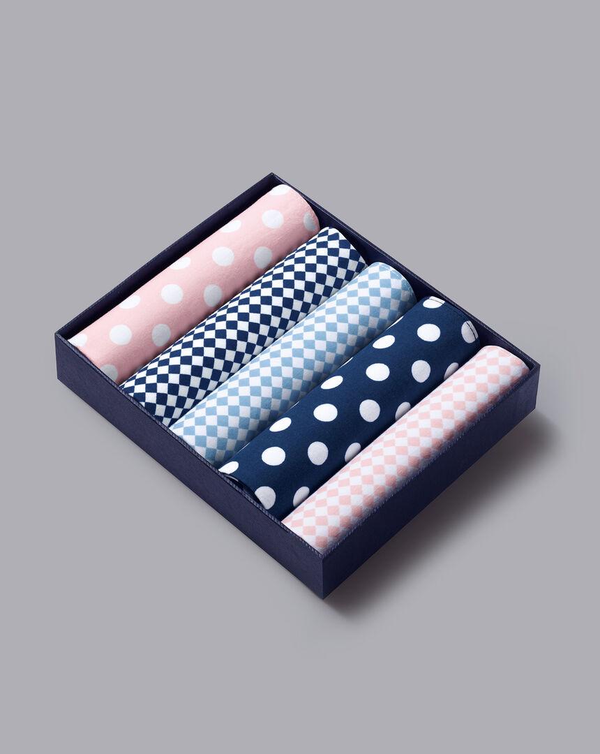 Handkerchief Box Set - Pink, White & Sky