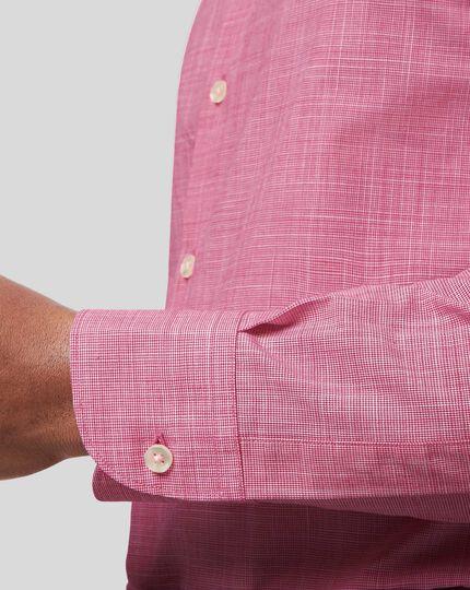 Business Casual Collar Slub Shirt - Pink