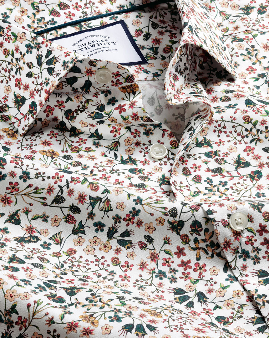Made with Liberty Fabric Semi-Cutaway Collar Shirt - Multi