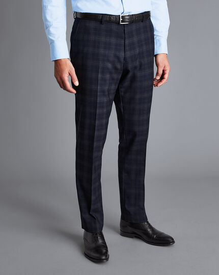 Anzug mit Windowpan-Karos - Marineblau