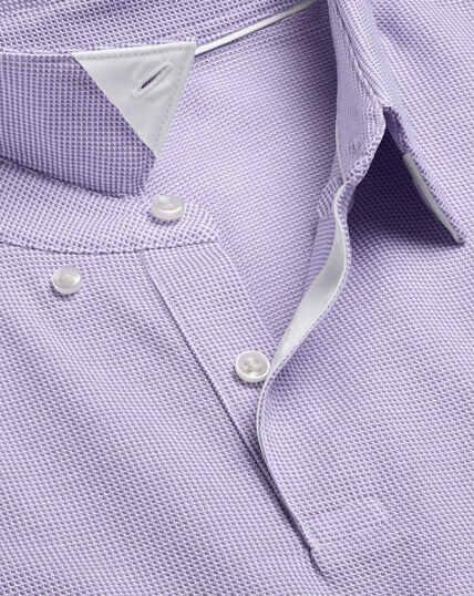 Spot Jacquard Polo - Lilac & White