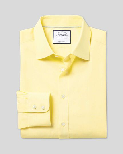 Semi-Cutaway Collar Egyptian Cotton Poplin Shirt - Yellow
