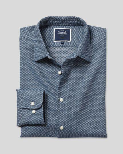 Strukturiertes Hemd aus Leinen & gebürsteter Baumwolle - Marineblau