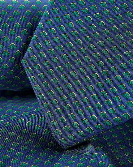 Dinosaur Silk Print Tie - Navy & Green