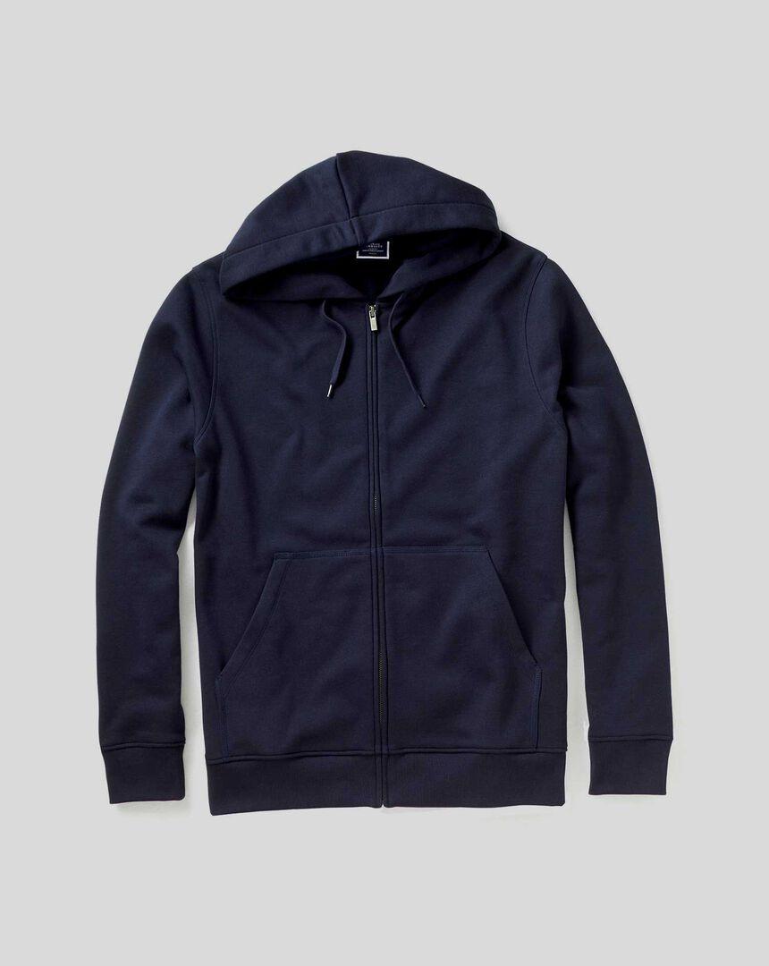 Jersey-Hoodie mit Reißverschluss - Marineblau