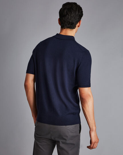 Merino Short Sleeve Polo Jumper - Navy