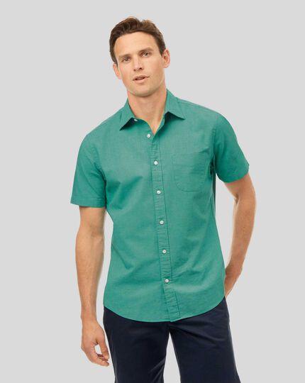 Kurzarmhemd aus Baumwoll und Leinen - Grün