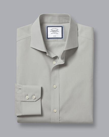 Bügelfreies Popeline-Hemd mit Haifischkragen - Grau