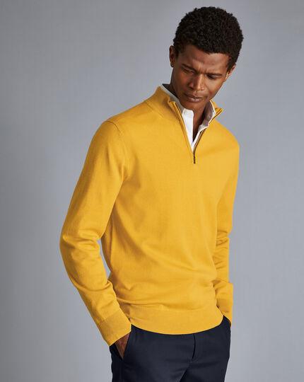 Merino Zip Neck Sweater - Dark Yellow