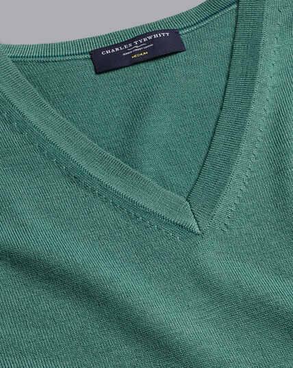 Merino V-Neck Jumper - Green