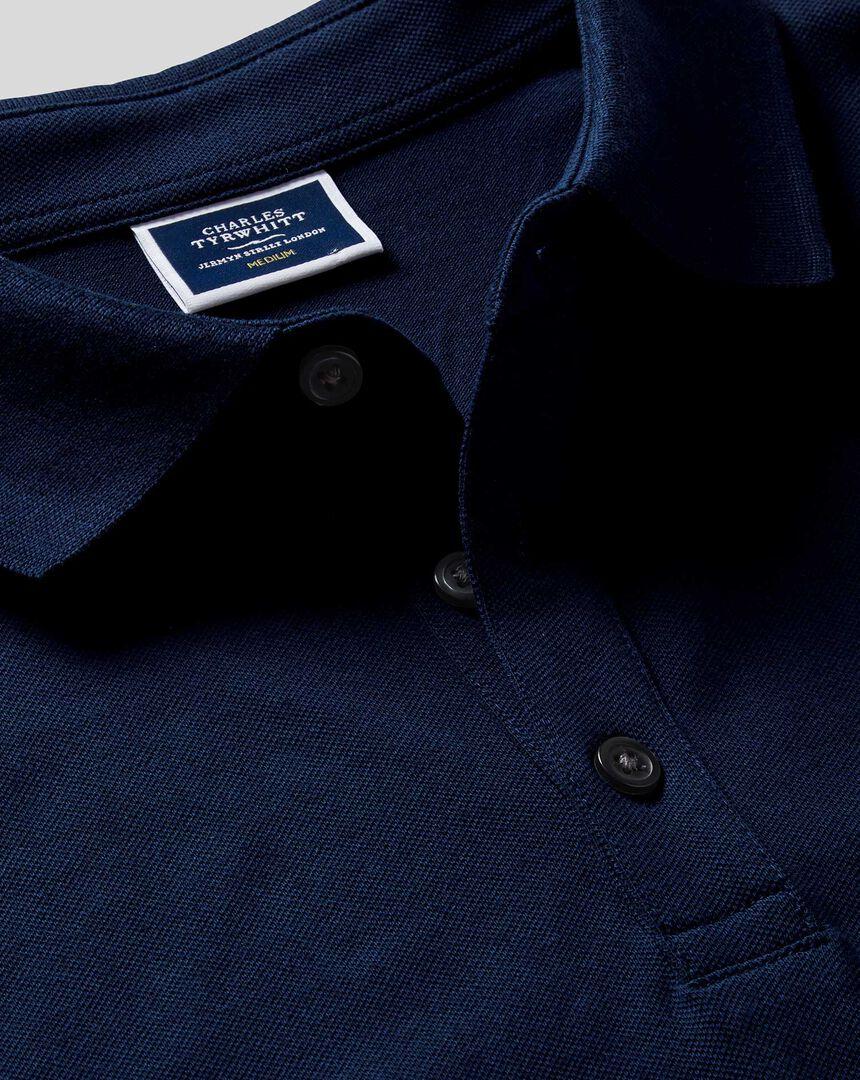 Langärmeliges Tyrwhitt Piqué-Polo - Marineblau