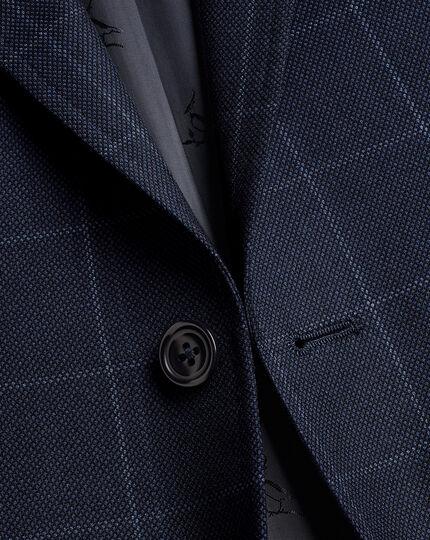 Windowpane Check Birdseye Travel Suit - Navy