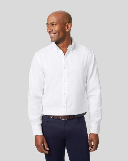 England Rugby Button-Down Collar Washed Oxford Shirt - White