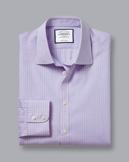 Semi-Cutaway Collar Egyptian Cotton Poplin Gingham Shirt - Lilac & Blue