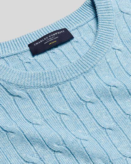 Merino Linen Cable Knit Crew Neck Jumper - Sky