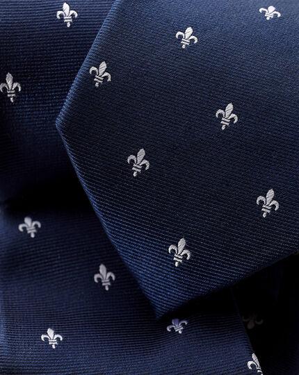 Stain Resistant Silk Fleur-de-lys Tie - French Blue