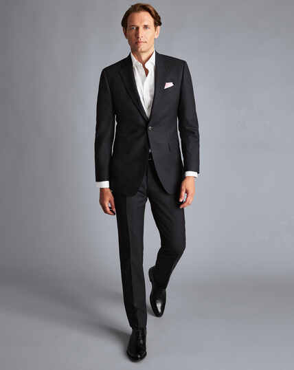 Birdseye Half Canvas Suit Pants - Charcoal