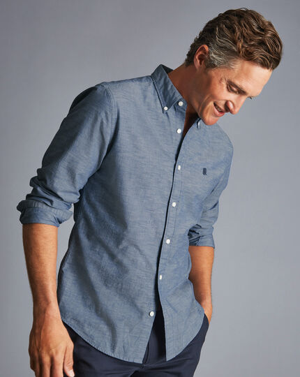 England Rugby Button-Down Collar Chambray Shirt - Mid Blue