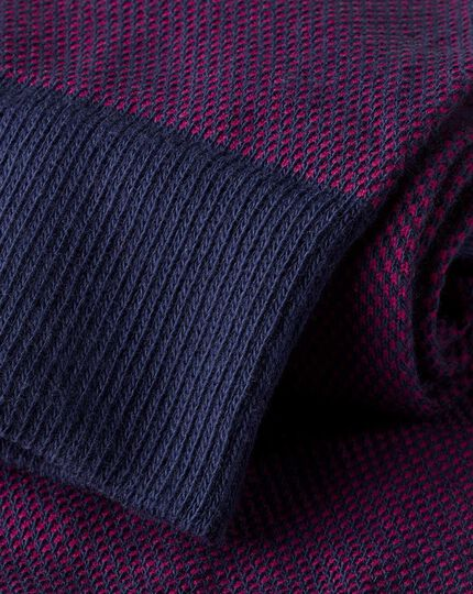 Semi-Plain Socks - Pink & Navy