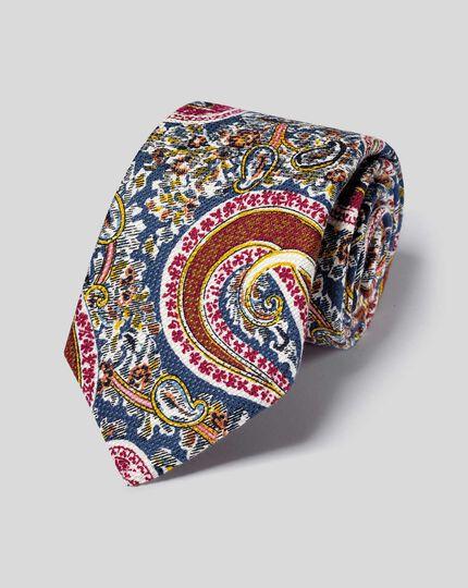 Cotton Silk Paisley Italian Luxury Tie - Multi