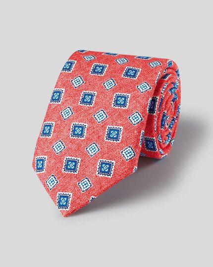 Medallion Print Italian Luxury Tie - Light Red & Blue