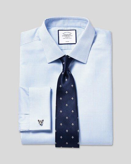 Non-Iron Twill Mini Grid Check Shirt - Sky