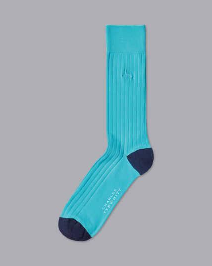 Cotton Rib Socks - Mint Blue