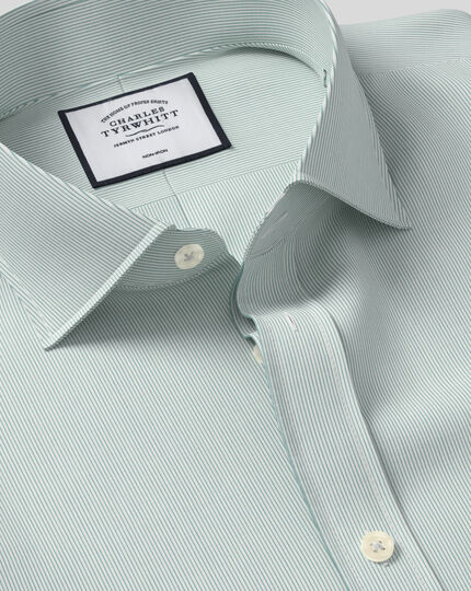 Cutaway Collar Non-Iron 4-Way Stretch Hairline Stripe Shirt - Green