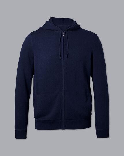 Hoodie aus Merino-Kaschmirmit Reißverschluss - Marineblau