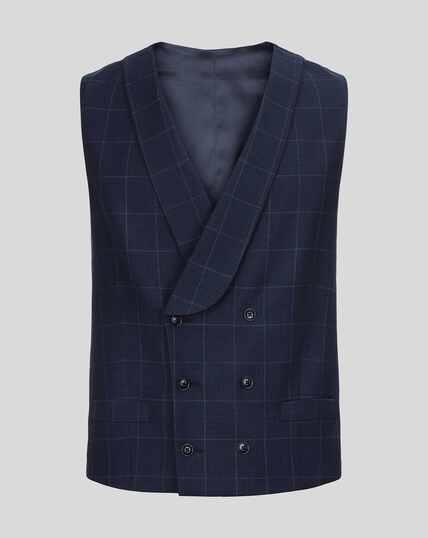 British Luxury Check Suit Vest - Navy