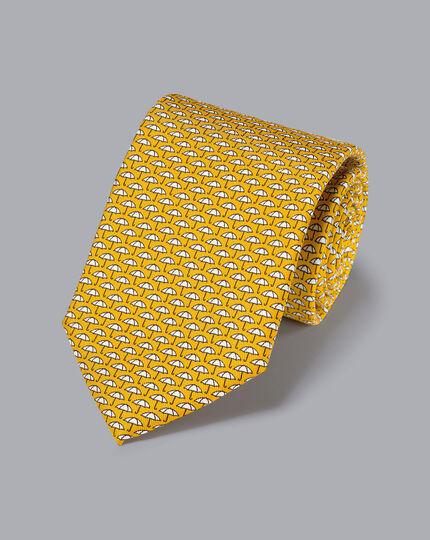 Krawatte aus Seide mit Regenschirm-Print - Gold